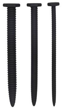 Набор из 3 черных стимуляторов уретры Silicone Screw Plug Set