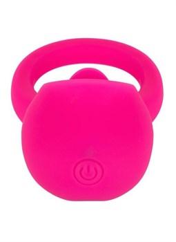 Ярко-розовое эрекционное кольцо Silicone Rechargeable Teasing Tongue Enhancer