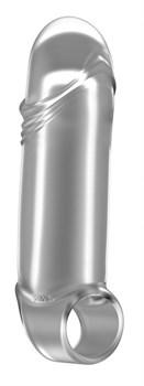 Прозрачная увеличивающая насадка с кольцом N35 Stretchy Thick Penis - 15,2 см.