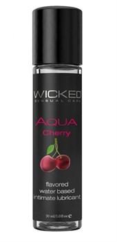Лубрикант на водной основе WICKED AQUA Cherry с ароматом вишни - 30 мл.