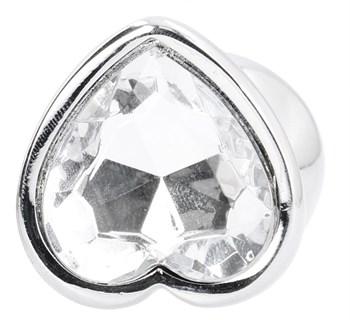 Серебристая анальная пробка Love Heart Diamond Plug с прозрачным кристаллом - 9,4 см.