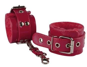 Бордовые лаковые наручники с меховым подкладом