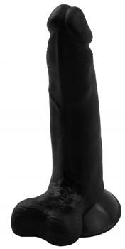 Черный гелевый фаллоимитатор на присоске №6 - 16,5 см.