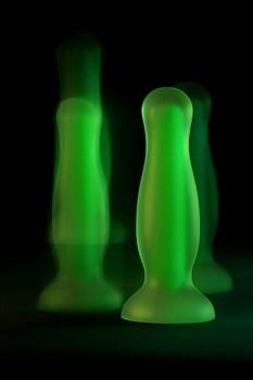 Зеленая, светящаяся в темноте анальная втулка Mortimer Glow - 12,5 см.