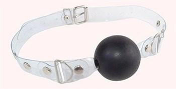 Черный кляп-шарик на прозрачном ремешке