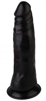 Черный реалистичный вибромассажер №3 с присоской - 17 см.