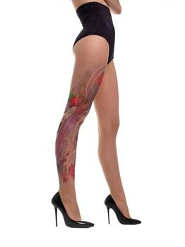 Телесные колготки Koi Fish с имитацией тату в японской стилистике