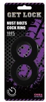 Черное гладкое двойное эрекционное кольцо Get Lock