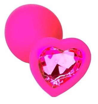 Розовая анальная пробка из силикона с розовым кристаллом в форме сердца - 8,8 см.