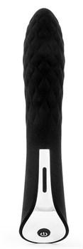 Черный стильный вибромассажер с 7 режимами пульсации - 20 см.