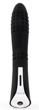 Черный вибромассажер с пупырышками с 7 режимами пульсации - 20 см.