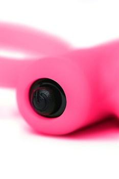 Розовое эрекционное виброкольцо на пенис Eromantica