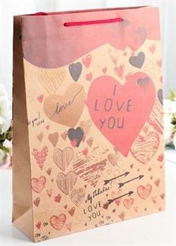 Бумажный пакет с сердечками - 19 х 24 см.