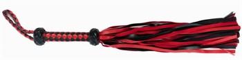 Красно-черная плеть с плетёной ромбической рукоятью