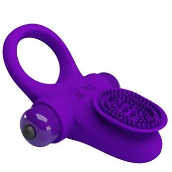 Фиолетовое эрекционное виброкольцо в клиторальной щеточкой Vibrant Penis Ring II
