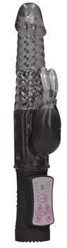 Черный вибратор-кролик Rotating Rabbit - 23 см.
