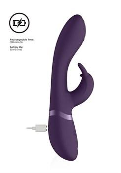 Фиолетовый вибромассажер-кролик Cato - 21,5 см.