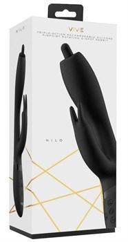 Черный вибромассажер-кролик Nilo - 22 см.