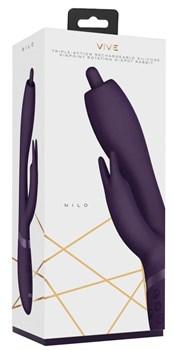 Фиолетовый вибромассажер-кролик Nilo - 22 см.