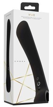 Черный гибкий вибромассажер Ombra - 21,5 см.