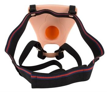 Телесный фаллопротез с вибрацией Vibrating Strap-On - 23 см.