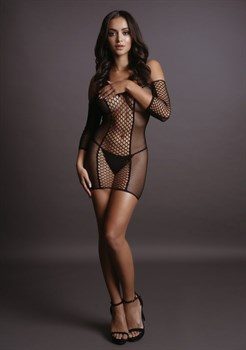 Соблазнительное мини-платье Duo Net Sleeved Mini Dress