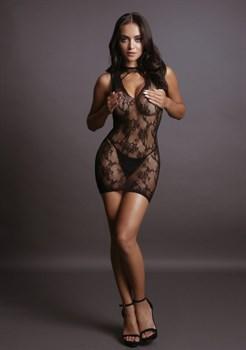 Коротенькое соблазнительное платье High Neck Lace Mini Dress