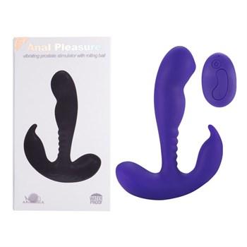 Фиолетовый стимулятор простаты Remote Control Prostate Stimulator with Rolling Ball - 13,3 см.