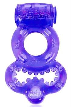 Фиолетовое эрекционное виброкольцо с шипами