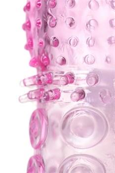 Розовая рельефная насадка закрытого типа - 13,5 см.