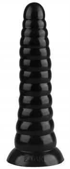 Черная коническая анальная втулка - 25 см.