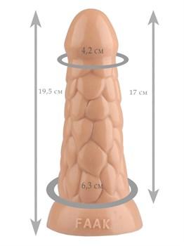 Телесная анальная рельефная втулка - 19,5 см.