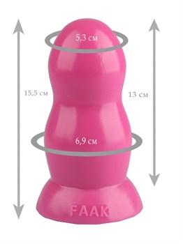 Розовая гладкая анальная втулка - 15,5 см.