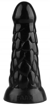 Черная анальная рельефная втулка - 19,5 см.