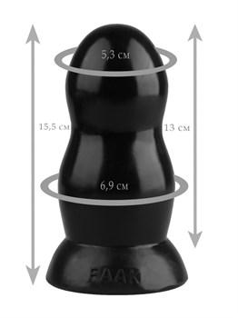 Черная гладкая анальная втулка - 15,5 см.