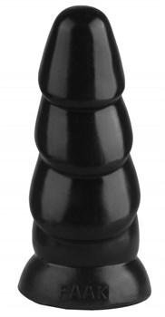 Черная рельефная анальная втулка - 18,5 см.