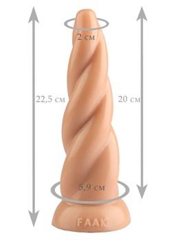 Телесная винтообразная анальная втулка - 22,5 см.