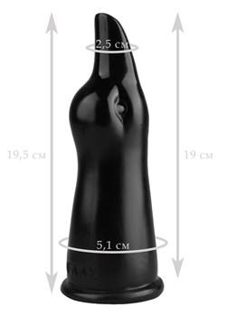 Черная анальная втулка в виде головы уточки - 19,5 см.