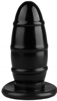 Черная овальная анальная втулка с ребрышками - 16,5 см.
