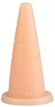 Телесный рельефный анальный конус - 18,7 см.