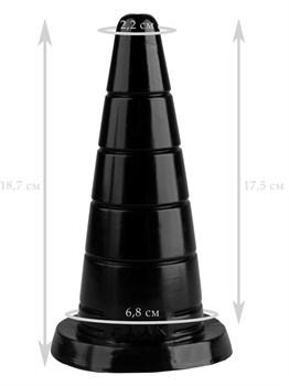 Черный рельефный анальный конус - 18,7 см.