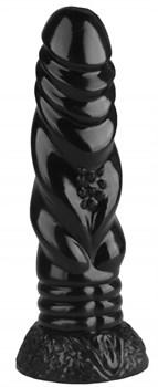 Черная реалистичная анальная втулка - 21 см.