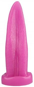 Розовая изогнутая анальная втулка-язык - 21 см.