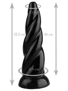 Черная коническая спиральная анальная втулка - 22,5 см.