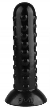 Черная анальная втулка с шипиками - 19,5 см.