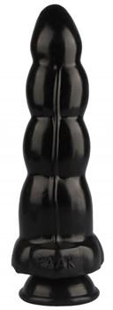 Черная анальная втулка-елочка - 22 см.