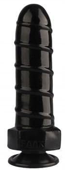 Черная анальная втулка в виде болта - 21 см.