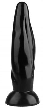 Черная фигурная анальная втулка - 22,5 см.