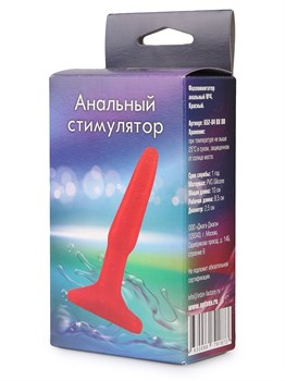 Красная анальная пробка - 10 см.