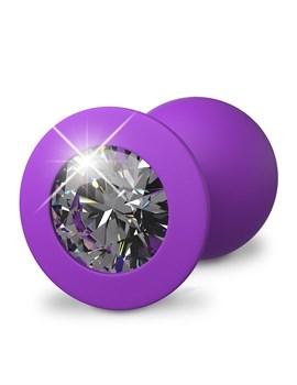 Фиолетовая анальная пробка со стразом Her Little Gem Medium Plug - 8,3 см.